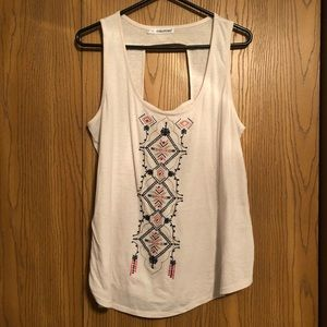 Maurices plus-size sand embroidered tank.